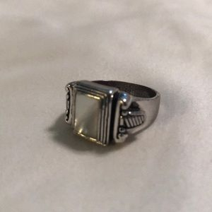 Silver Ring with Opal Center